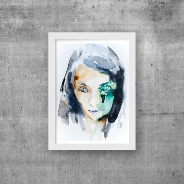 abstract portrait unique modern art print