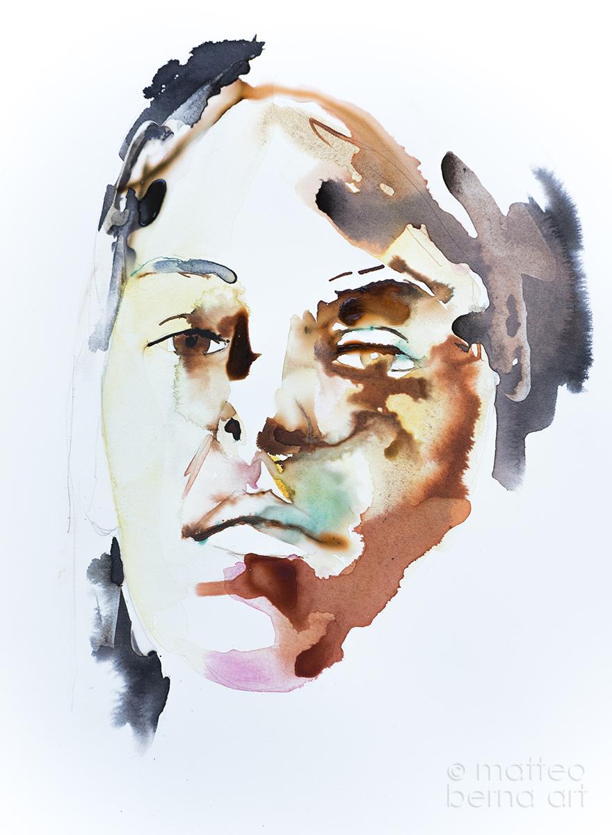 modern art contemporary portrait watercolour ink