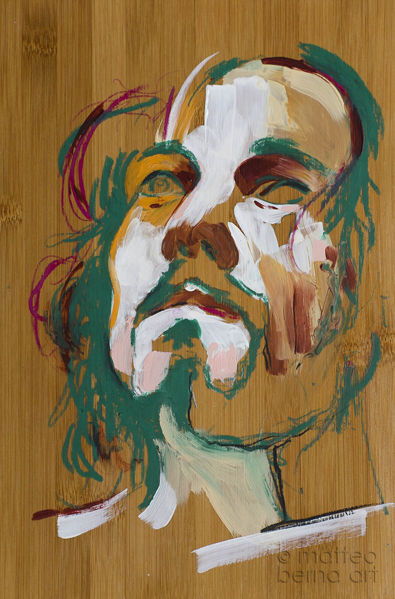 portrait abstract wood mixed media