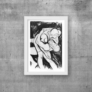 wrestler charcoal print drawing