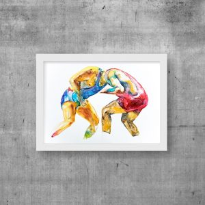 art print wrestlers