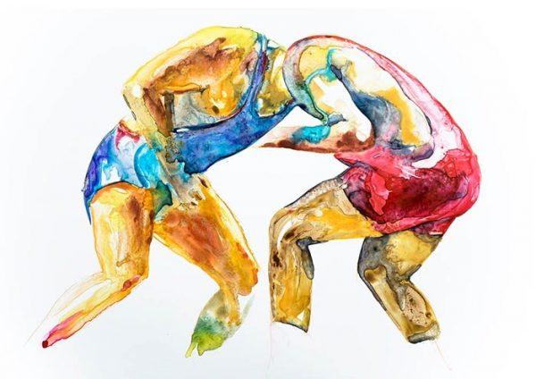 wrestler art prints contemporary