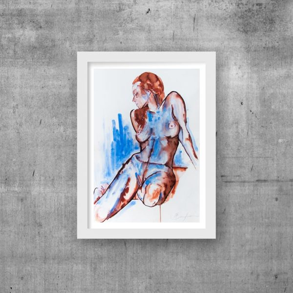 blue woman art print ink unique