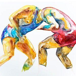wrestler art painting contemporary