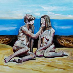 oil on canvas couple intimate art