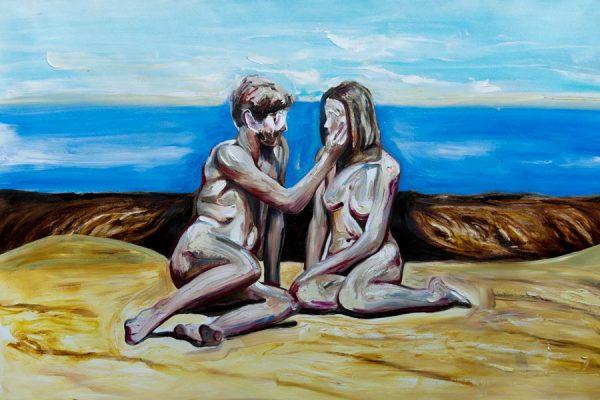 oil on canvas couple intimate art