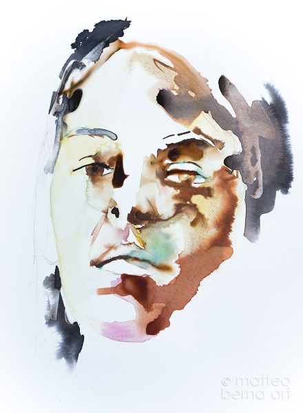 modern art contemporary portrait watercolour ink